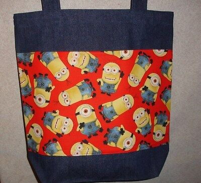 NEW Large Denim Tote Bag Handmade/w Minions on Red Background Fabric - Minions Background