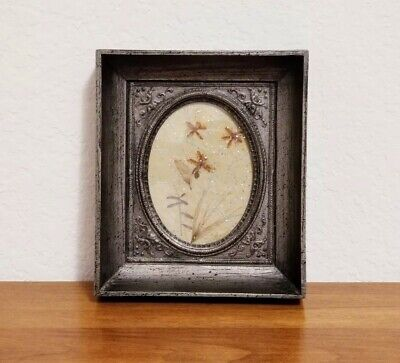 Vintage Framed Beige and Mint Green Dried Flower Art in Silver Gray Frame