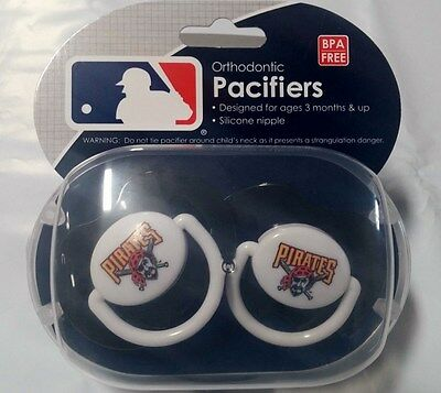 Pittsburgh Pirates Baby Infant Pacifiers NEW - 2 Pack   GREAT SHOWER