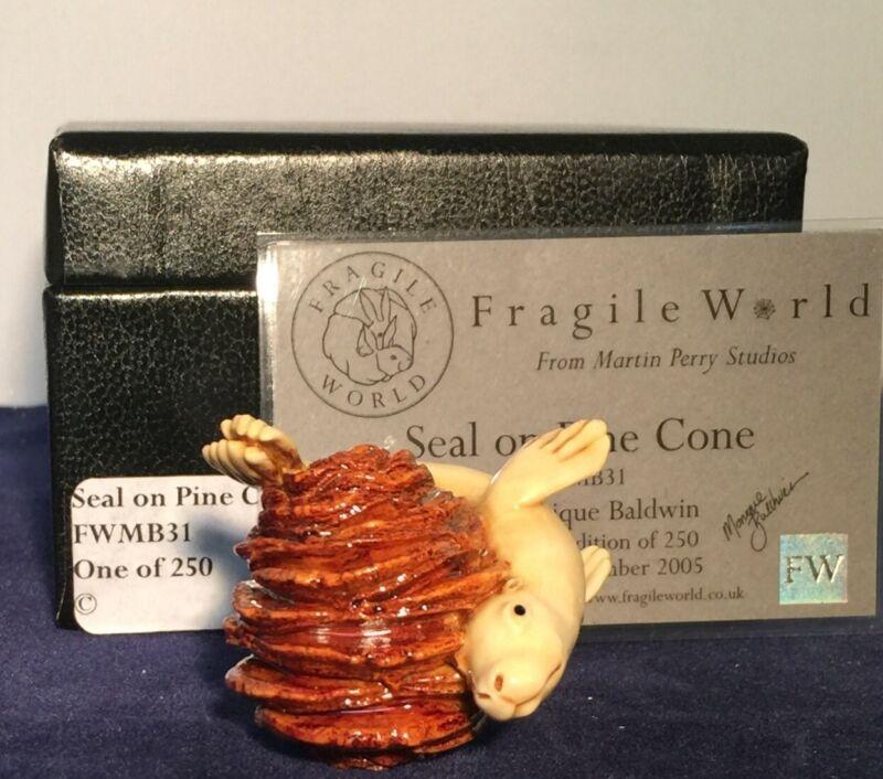 Harmony Kingdom MPs Fragile World ~ Seal on Pine Cone ~ Figurine ~ FE 95 RARE