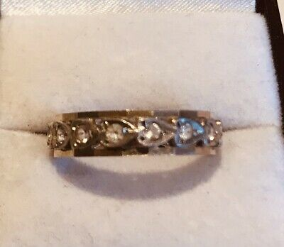 1940s Jewelry Styles and History 1940s 9ct 2 Colour Gold Stone Set Eternity Ring $180.48 AT vintagedancer.com