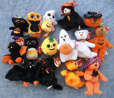 W-F-L TY Beanies Halloweenies Auswahl Geist Vampir Fledermaus Kürbis Halloween