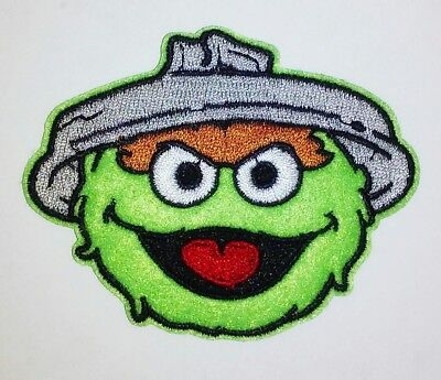 Oscar The Grouch Sesame Street Embroidered Iron On Patch Applique 3.00