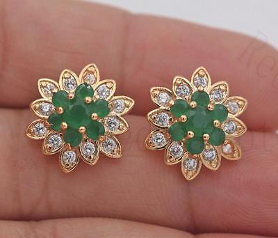 (18K Gold Filled -Multilayer Flower Earrings Emerald Snowflake Ear Stud Jewelry)