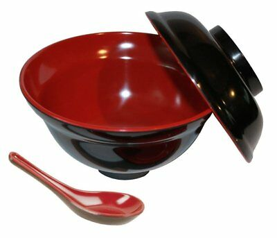 - Rice Miso Soup Bowl with Lid and Spoon Black & Red Color 16 oz S-3424+2384