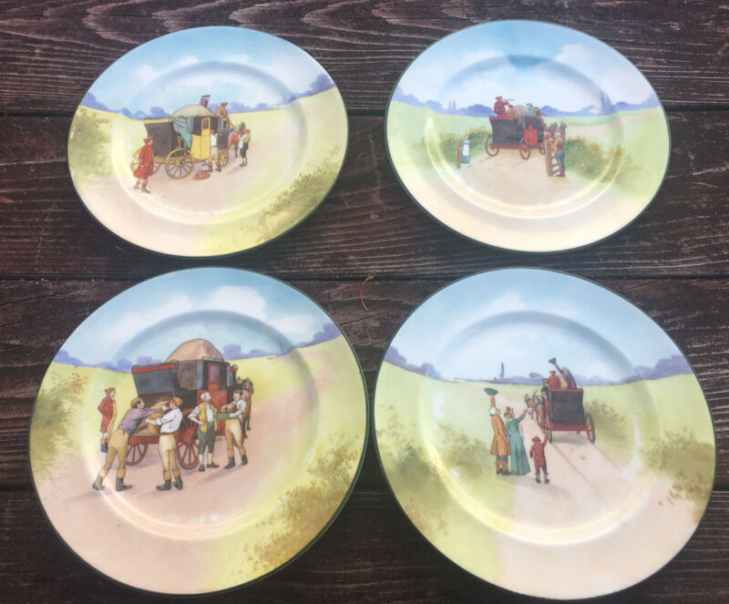 RARE 4 ROYAL DOULTON CHINA BLUE SKY LOVINGTON BROS COACHING DAYS PLATES