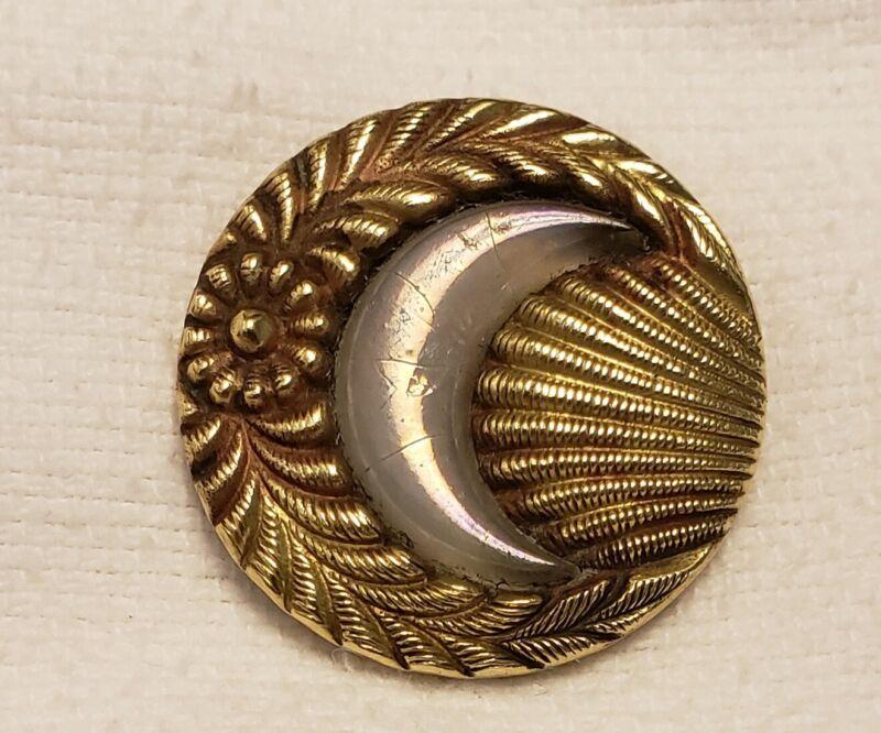 """Antique ,Victorian, Brass & Opal Glass, Star an Crescent Moon, Button ,1-1/4"""""""