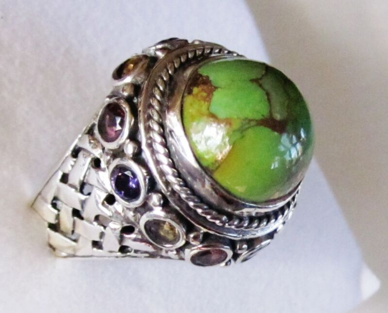 Mojave Green Turquoise & Multi Gemstone Ring in 925 Sterling Silver, size 7
