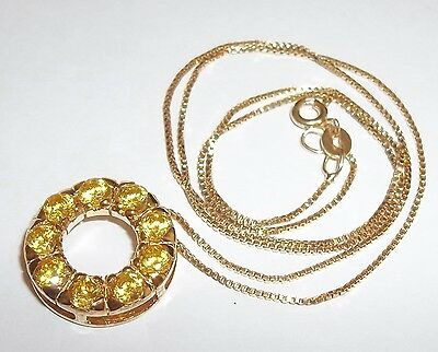 NOS Gold over Sterling Silver Synthetic Citrine Birthstone Pendant Circle Chain ()