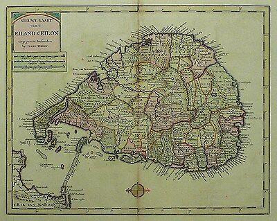 SRI LANKA / CEYLON - Isaak Tirion - kolorierte Kupferkarte 1744