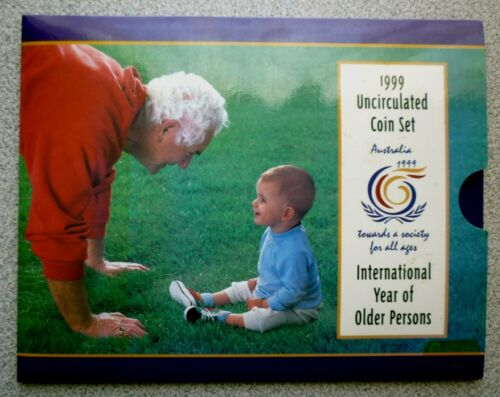 1999 AUSTRALIA -OFFICIAL BU MINT SET (6) -YR OF OLDER PERSONS -ORIG. RAM BOOKLET