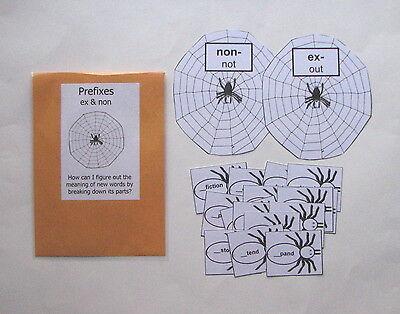 Teacher Made Literacy Center Learning Resource Game Prefixes ex & - Prefix Game