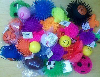 18 PACK STRESS  BALLS, SQUEEZE TOYS,  AND PUFFER BALL ASSORTMENT NO DUPLICATION