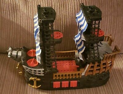 2006 Fisher price Imaginext Black and Red Pirate Ship Blue Sails Retired Beard