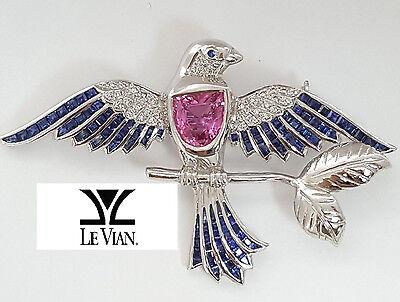 18K White Gold Encore LeVian Pink, Blue Sapphire & Diamond Bird Brooch / Pin