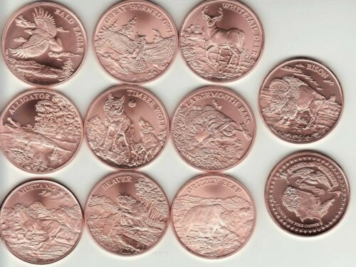 "Copper Round Coin Set   AMERICAN WILDLIFE  Series  ""10 COIN SET"" 1 oz. Coins"