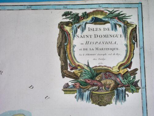 1757 RARE NICE ORIGINAL MAP ANTILLES CARRIBEAN HAITI DOMINICAN REPUB. MARTINIQUE