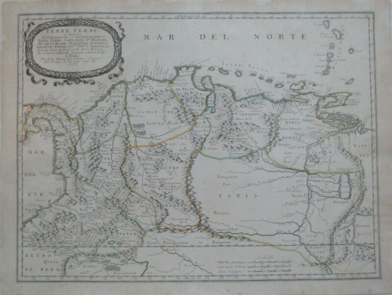 Original 1656 Sanson Map PANAMA COLOMBIA VENEZUELA GUYANA El Dorado City of Gold