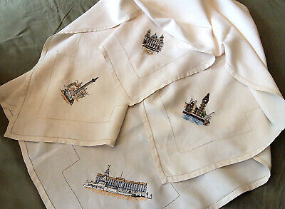 VTG UK LONDON Landmarks Tablecloth Napkins Linen Hand Embroidery Souvenir ()
