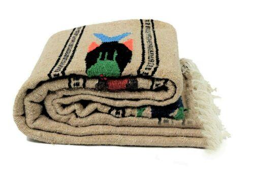 Mexican Yoga Blanket Fish Style Beige Tan Serape Native Tapestry Falsa Throw XL