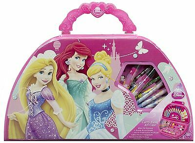 KIDS CHILDRENS DISNEY PRINCESS TRAVEL CARRY ALONG ART CASE PAINTING TOY SET