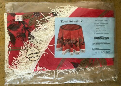 Vintage MCM Christmas Poinsettia Pinecone Tablecloth Fringe 67 Inch Round Red