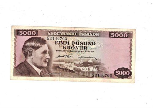 Iceland 1961 5000 Kronur