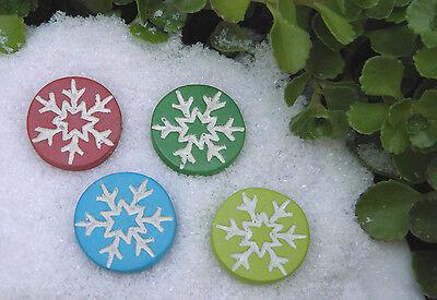 Miniature Dollhouse FAIRY GARDEN ~ North Pole CHRISTMAS Snowflake Stepping - Snowflake Pole Decoration