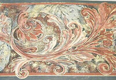 Leaf Scroll Wall Border (Taupe Teal Green Mauve Pink Gold Acanthus Leaf Scroll Wall paper Border 7099 )