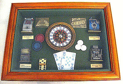 SLOT MACHINES ANTIQUE 20th CENTURY DECADES CASINO THEME WOODEN FRAMED SHADOW BOX