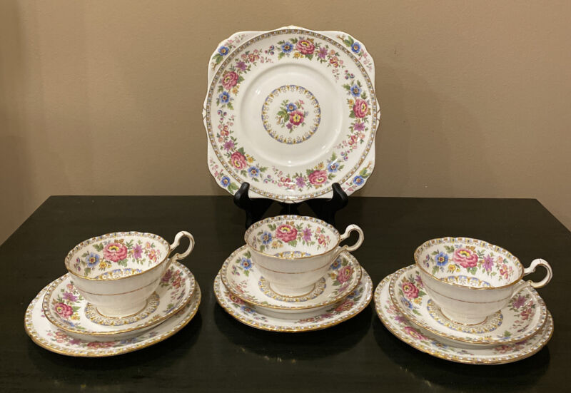 Set of 3 Royal Grafton Scalloped Malvern Trio Cup/Saucer/Dessert Plate & Platter