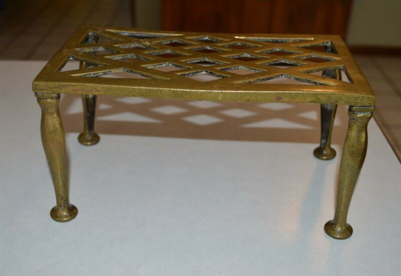 19th Century Antique Brass hearth laundry iron stand