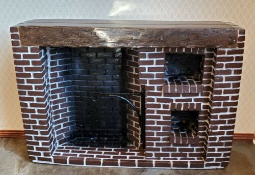 Dollhouse Miniature Large Fireplace Brick Walk-In Style Colonial 1:12 Scale