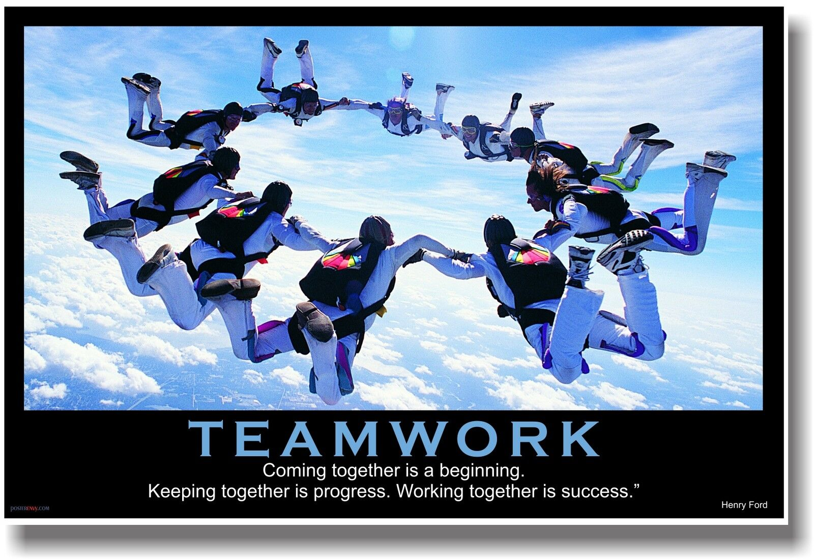 NEW Motivational TEAMWORK POSTER - Henry Ford Quote - Sports Sky ...