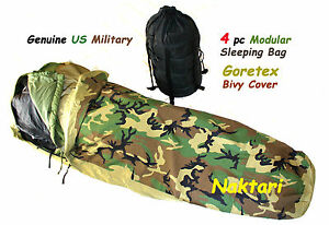 Genuine-US-Military-GORETEX-BIVY-Modular-Sleeping-Bag-System-4pc-Excellent-Cond
