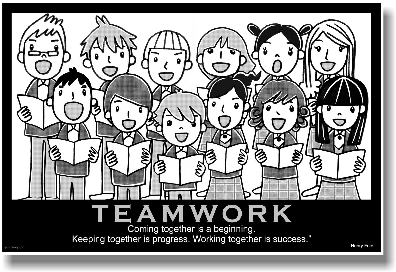Ford Quote New Motivational Teamwork Poster  Henry Ford Quote  Choir Music