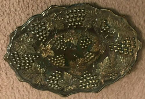Northwood Carnival Glass Dresser Tray Grape & Cable