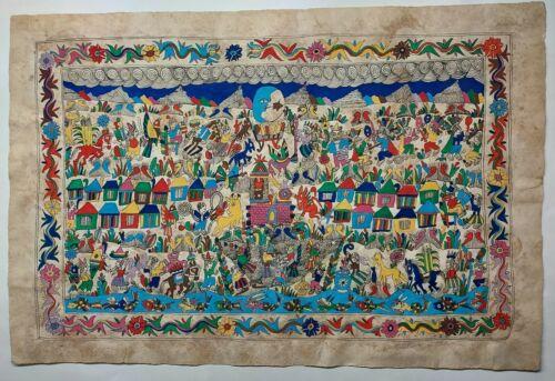 Mexican Folk Art Bark Painting by Francisco Garcia