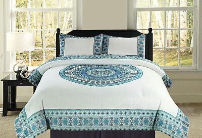 Full/Queen or King Boho Mandala Blue Teal Bedding Comforter 3 Pc. Set, Cotton ()