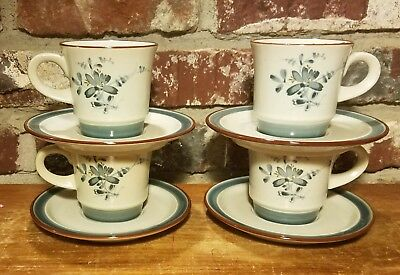 (Noritake PLEASURE Flat Cups & Saucers, 4 sets, 8344, Stoneware. Gray, Very good)