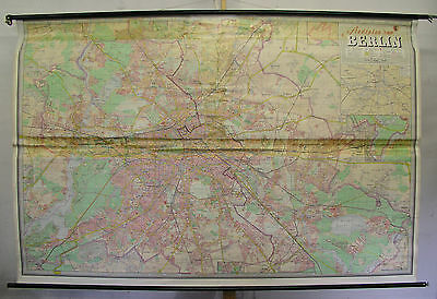 Schulwandkarte Wall Map Wall Map Card Berlin City of City Map 233x154cm ~ 1965