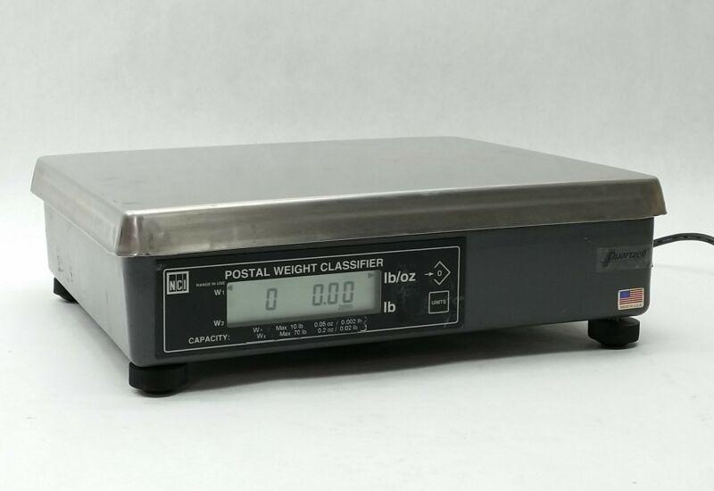 "NCI AVERY WEIGH-TRONIX 7620 70LB RS232 DB9 14""x12"" POSTAL SHIPPING SCALE+PS"