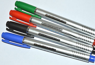 4 X FINE BULLET TIP DRY WIPE PENS White Board Marker Pen RED GREEN BLUE BLACK