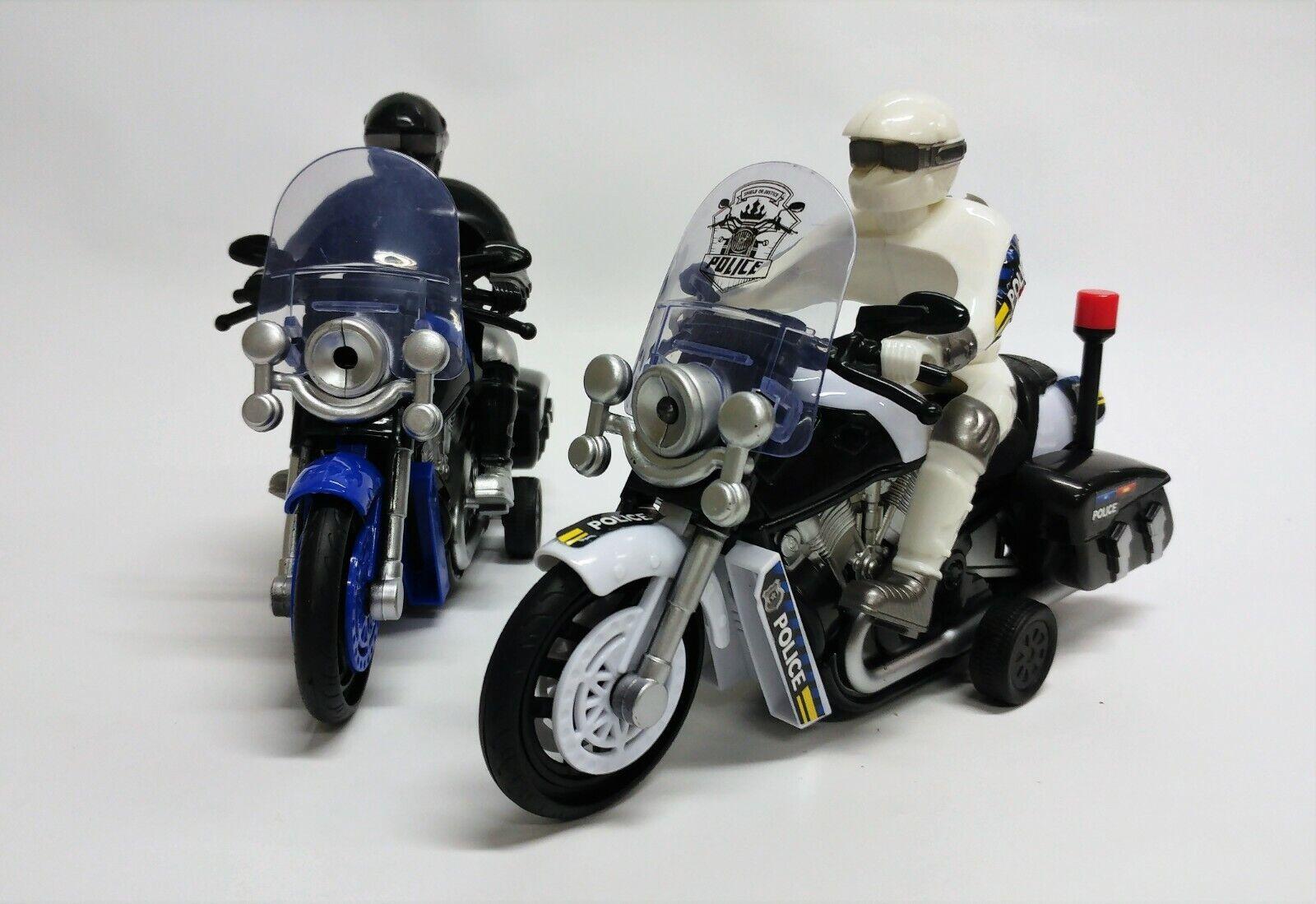 Stop Polizei ! 2x tolles Motorrad mit Licht und Sound, Verfolgungsjagt Polizist