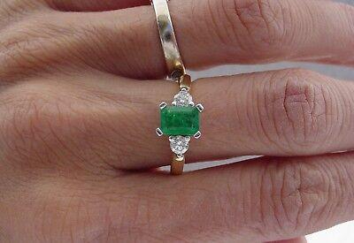 Estate Diamond green emerald women fashion ring 14k/Platinum Size 7 Diamond Emerald Fashion Ring