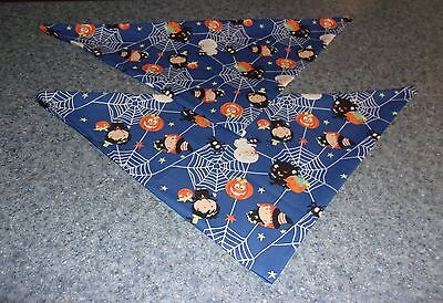 2 Brand New Halloween Trick Or Treat Design Bandanas For Dog Rescue Charity