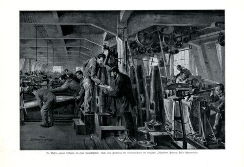 German topedo factory XL 1917 art print by Schwormstadt weapons submarine marine