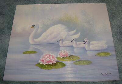 VINTAGE SWAN SWANS CYGNETS POND LILY PADS LOTUS FLOWERS SWIMMING OIL PAINTING