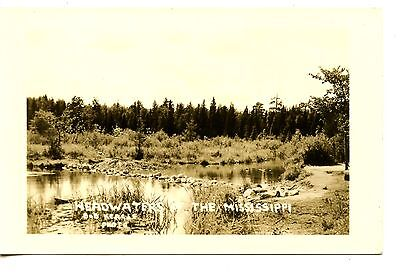 Headwaters Mississippi River Itasca Minnesota Rppc Vintage Real Photo Postcard