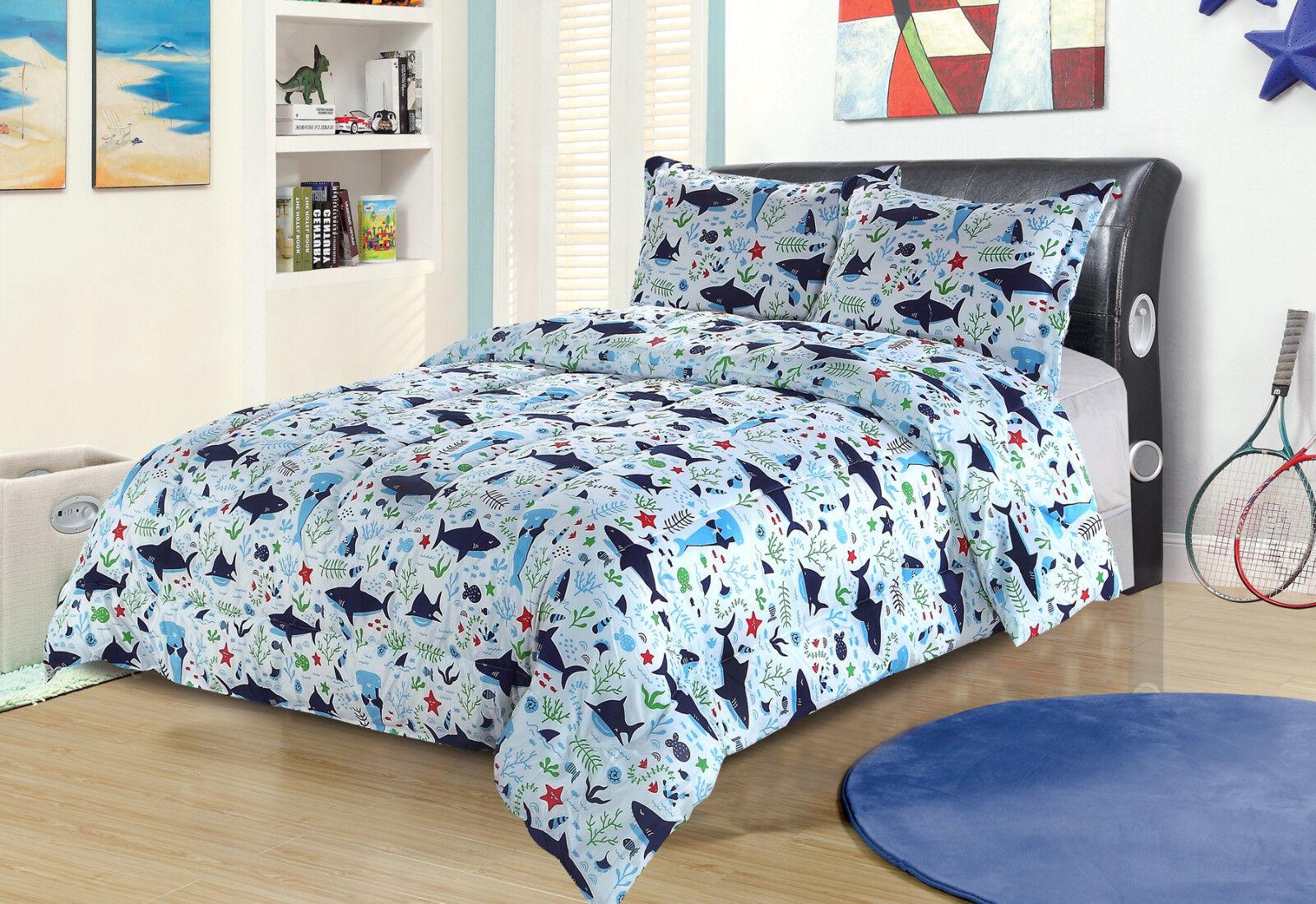 Twin or Full/Queen Shark Bedding Comforter Bed Set Blue Gree